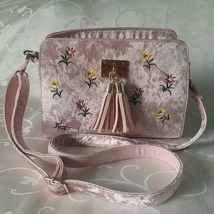 Velour Floral Crossbody/Shoulder Bag